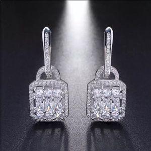 Sterling Silver 925 Earrings Lock Shape and AAA CZ